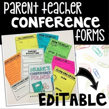 "All of the forms you need for parent teacher conferences in one pack! Pre-made forms and editable* forms for you to edit to fit your needs!Included in this pack are: Conference Folder Cover sheet* Fall & Spring Conference sheet* Student Reflection page* Parent Reflection page (Pre-survey for parents to fill out before conferences) Conference Reminder slips Conference Notes page (to take notes during the conference) Math & Reading information and tips pages* ""Dear Child"" letter from pa..."