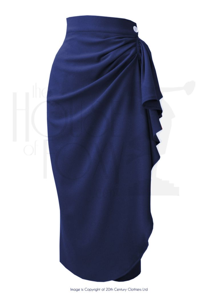 1940s Style Waterfall Sarong Pencil Skirt in Navy Crepe