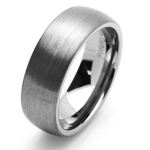 My hubby's ring... Brushed domed men's wedding ring in tungsten carbide
