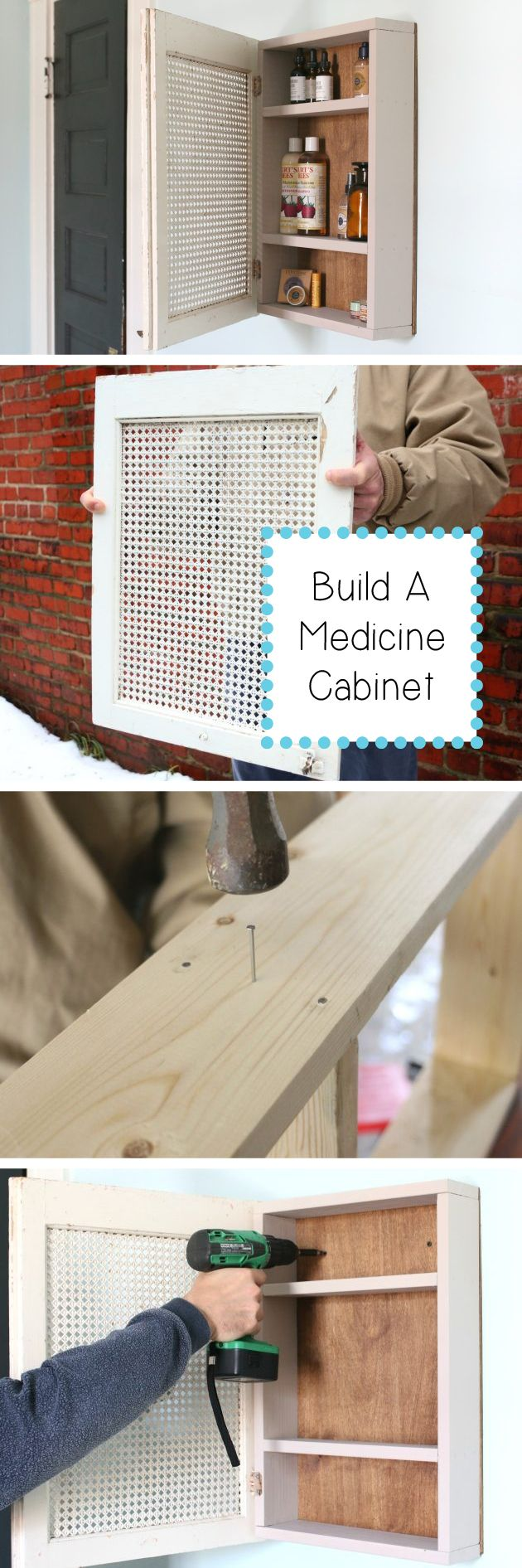 Upcycle and refashion an antique cabinet door into a useful medicine cabinet perfect for adding tons of character to your home. Easier to make than you'd think, and a great unique piece for your home! http://www.ehow.com/how_4486529_build-medicine-cabinet.html?utm_source=pinterest.com&utm_medium=referral&utm_content=inline&utm_campaign=fanpage