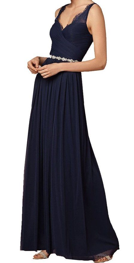 Firose Long Chiffon Bridesmaid dress Lace See-through Prom Dress: Air Force Ball. #Navy #military #gown