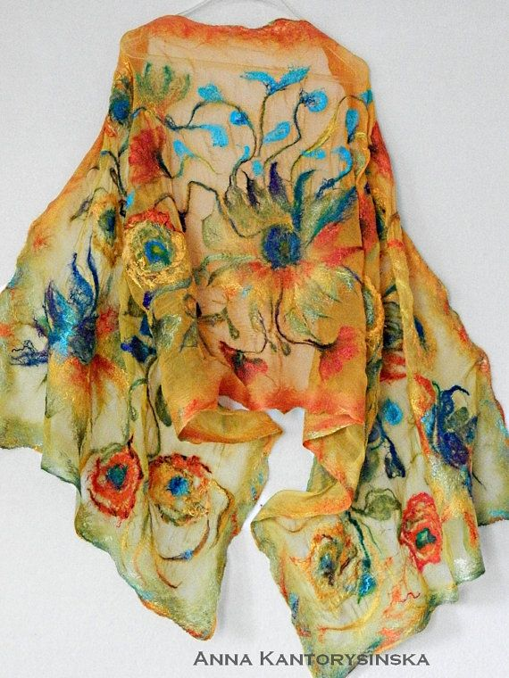 nuno felted silk scarf shawl SUNFLOWERS handmade art to wear, silk wool scarf, nuno felt shawl, large scarf eco fashion by Kantorysinska