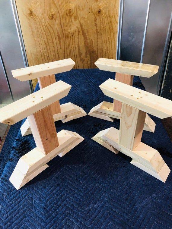 diy bench leg set trestle style wooden
