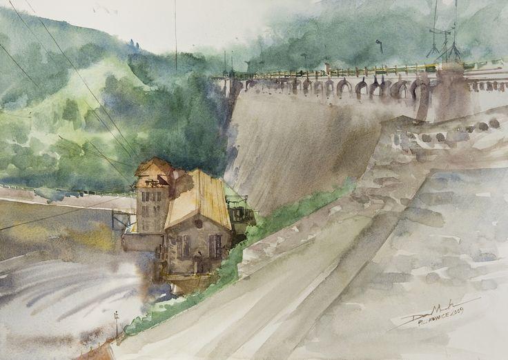 The Dam in Pilchowice, 36x51cm, 2009 www.minhdam.com #architecture #watercolor #watercolour #art #artist #painting #jeleniagora #poland
