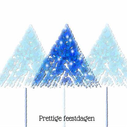 Leuke kerstkaart met eenvoudige kerstbomen bestaande uit blauwe rondjes, die schitteren. Achtergrond is wit.