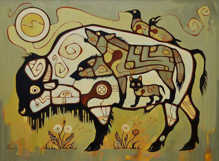 Prolonging Life, by Vasiliy Mushyk, 2008, Ukraine. In the tradition of Norval Morrisseau, Anishnaabe artist who taught non-natives in The Woodland style.