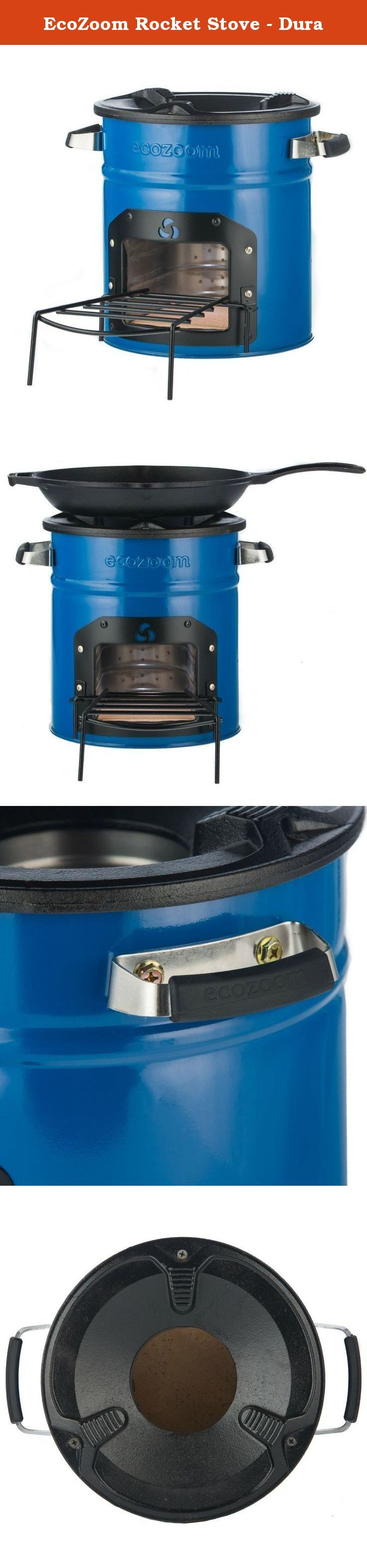 EcoZoom Rocket Stove - Dura. EcoZoom's Dura rocket stove burns wood and other dry solid biomass. The Dura is great for camping and has proven its durability in developing countries where the stove is used daily. It features an abrasion resistant and durable ceramic combustion chamber with a 10 cm in diameter vertical section that forces the gases to mix with the flame, decreasing harmful emissions. The Dura adds a refractory metal liner to the inside of the combustion chamber that…