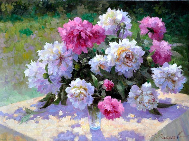 художник  Николаев Юрий,  В саду. Пионы