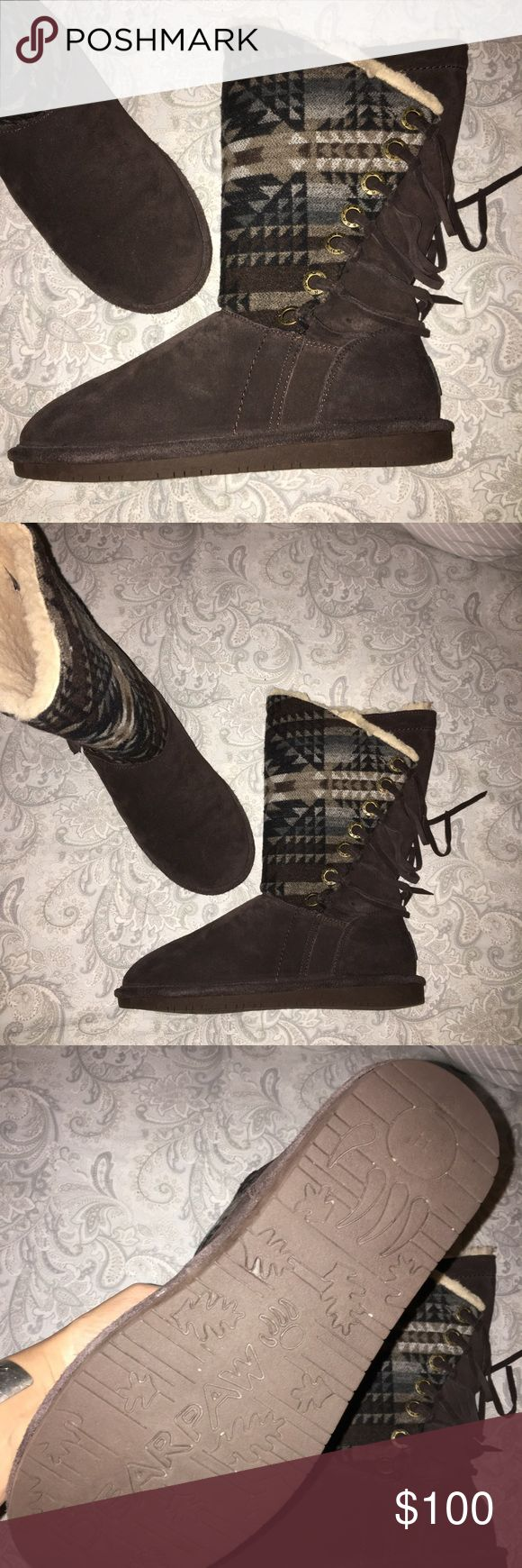 🌵BEARPAW🌵FRINGE SHEARLING BOOTS Southwest Aztec design fringe shearling suede boots. Worn once like new. Offers welcome. BearPaw Shoes