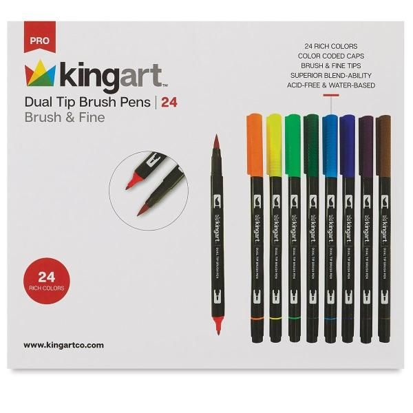 Dual Tip Brush Pen Art Markers Set Of 24 Unique Colors Brush