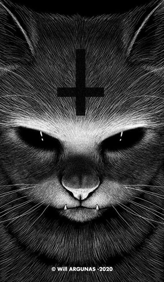 Phone Wallpaper Download Satanic Cat By Will Argunas Art In 2021 Satanic Cat Scary Wallpaper Gothic Wallpaper Devil hd wallpaper for mobile