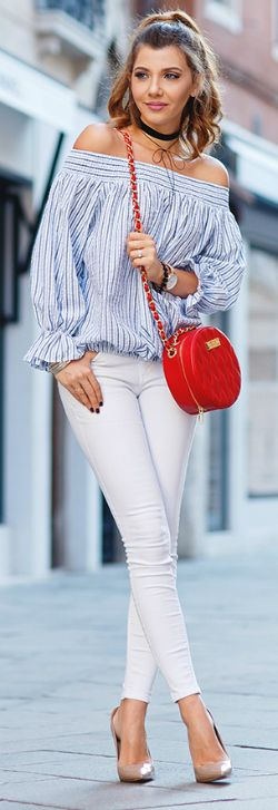 playful streetwear + Larisa Costea + accessorizes slim white jeans + quilted redcross-body + nude pumps + plenty of jewellery + adorable off-the-shoulder peasant top + two slim black chokers.  Shirt: Chicwish, Jeans: Zara, Shoes: Kurt Geiger, Bag: Concept 15, Watch: MVMT, Chokers: Shein and Miss Mary a Little
