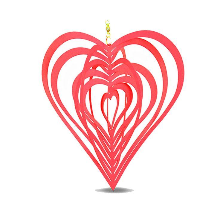 Hanging Garden Metal Wind Spinner SunCatcher Heart Shaped Pink Windspinner 20cm #Gardens2you #Contemporary
