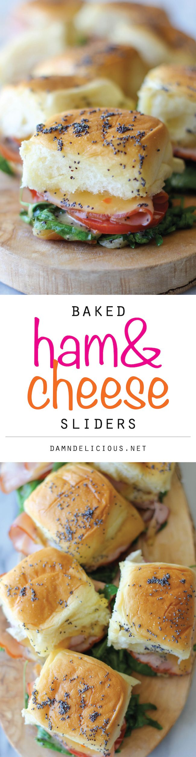 Baked Ham and Cheese Sliders - These sweet Hawaiian bread sliders are popped in the oven until they're completely buttery and oozing with melted cheese!