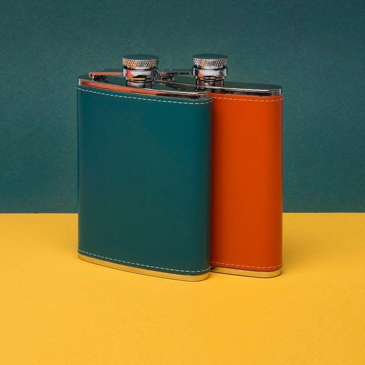 Tangerine dreams and the joys of turquoise • #turquoise #tangerine #hipflasks #flasks #hipflasks #productlaunch #britishluxury #toeachtheirown #britishmade #ettinger #ettingerlondon #popofcolour