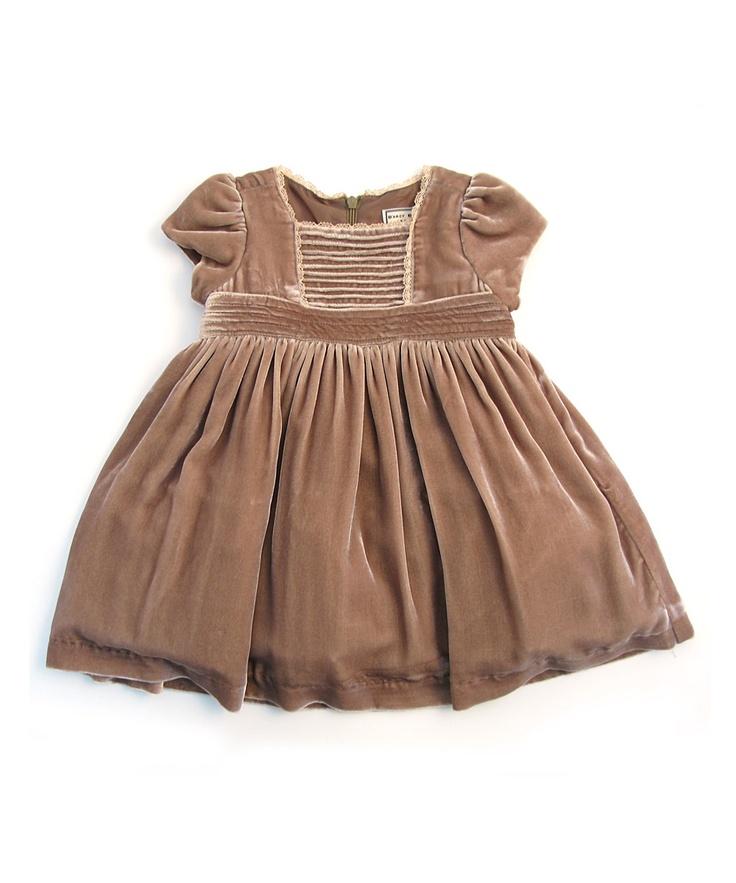 Darcy Brown Mushroom Velvet Dress - Infant, Toddler & Girls