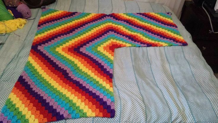 Pattern blanket with c2c joining four together Crochet ...