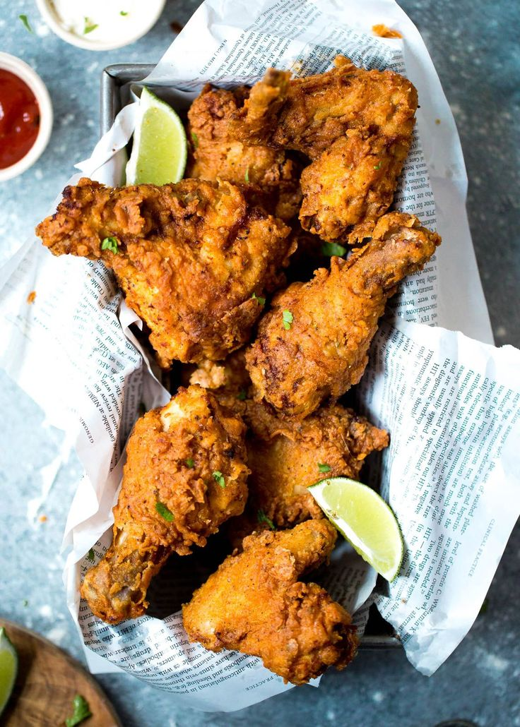 Crispy, crunchy, tender Buttermilk Fried Chicken that's perfect for Superbowl Sunday.