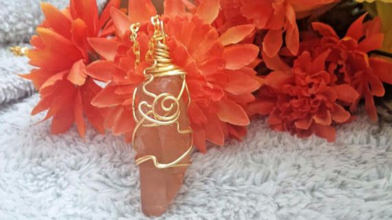 Tangerine Quartz Crystal NecklaceCLEANSED AND BLESSED