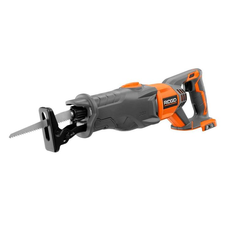 RIDGID X4 18-Volt Cordless Reciprocating Saw Console (Tool Only)-R8641B at The Home Depot.  This will work with his batteries he already has, so tool only is needed.