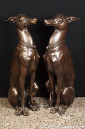 Pair Art Deco Bronze Greyhound Dogs Greyhounds