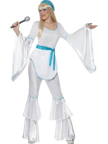Be sure to stand out from the crowd in this Magnificent adult women's Super Trooper fancy dress Costume which comes complete with a stunning White bell sleeve Top, flared Trousers, Hat and Belt Tie. Super Trouper lights are gonna find me!
