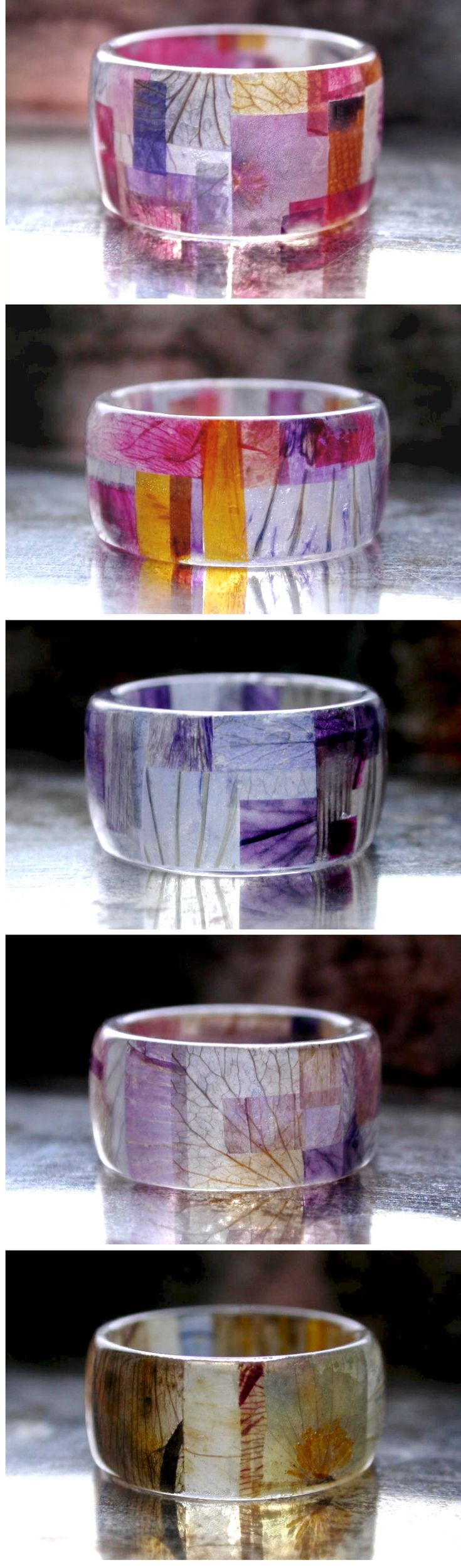 Cuttings from many, many, many flower petals are inside this resin rings. This little patchwork design asked me for a lot of patience ; )