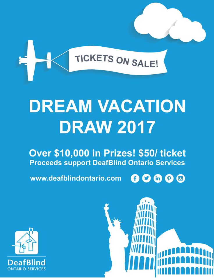 We've teamed with Winchester Travel for an awesome fundraising adventure - the Dream Vacation Draw - with $10,000 in prizes to be won!  Tickets are $50 each. For each ticket sold, 60% comes right back to DeafBlind Ontario Services!  Tickets sales run from October 1st - November 1, 2016 or until we are sold out! Tickets are limited so order early!http://deafblindontario.com/index.php?option=com_icagenda&view=list&layout=event&id=17&Itemid=112&lang=en
