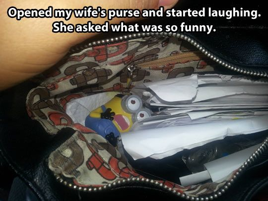 This made me laugh because I have one of those minions in my purse right now! It's been in there for like a week...