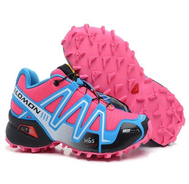 Chaussures Salomon Femme Speedcross 3 Rose Cyan Bleu Ciel Noir