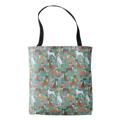 Boxer Dog Floral Tote Bags - floral style flower flowers stylish diy personalize
