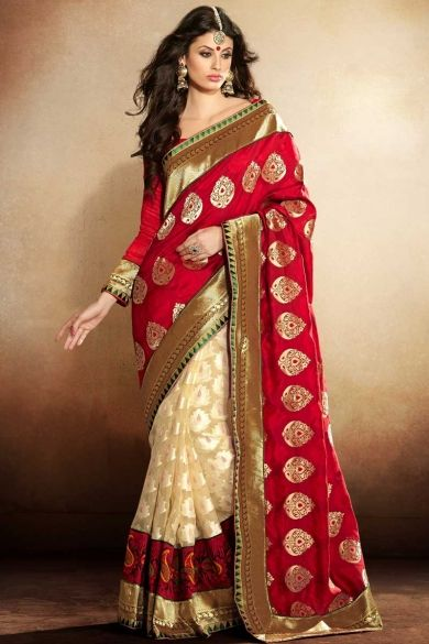 Designer Embroidered Festival Saree; Cream Yellow and Amaranth Red Jacquard and Tissue Embroidered Festival Saree