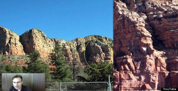 """""""See? The face? The face that is indisputable proof that aliens exist? The face that is indisputable proof that aliens exist and is a marker for their secret underground base?"""" people coming up with crazy conspiracies because they have found a rock face that looks like a human face. When really it could just be a massive coincidence as people see faces in everything nowadays. (The Huffington Post UK, 6th may 2014)"""
