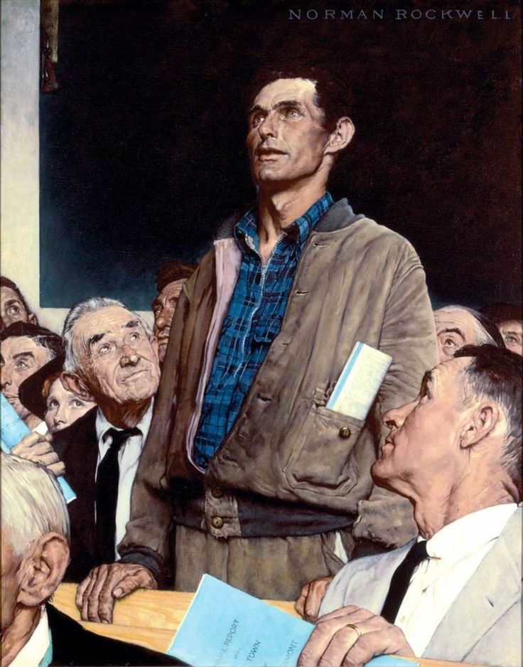 "Norman Rockwell (1894-1978), ""Freedom of Speech,"" 1943, Story illustration for ""The Saturday Evening Post,"" February 20, 1943.  Norman Rockwell Museum Collections.  ©1943 SEPS: Curtis Licensing, Indianapolis, IN."