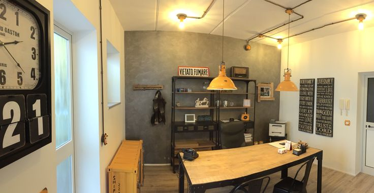 Our new office, in perfect industrial retrò style, with the Pipes lighting system.
