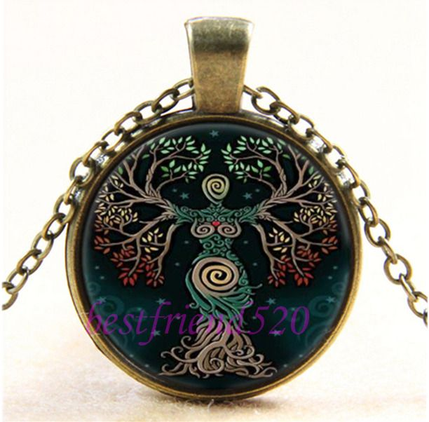Vintage Tree of Life Photo Cabochon Glass Bronze Chain Pendant Necklace