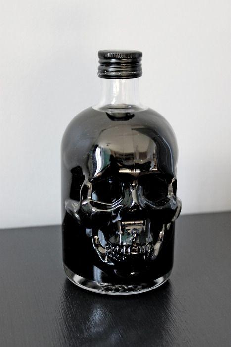 skull bottle: Skulls, Mood Boards, Black Skull, Bottledesign, Drinks Me, Halloween Treats, Poisons, Bottle Design, Skull Bottle