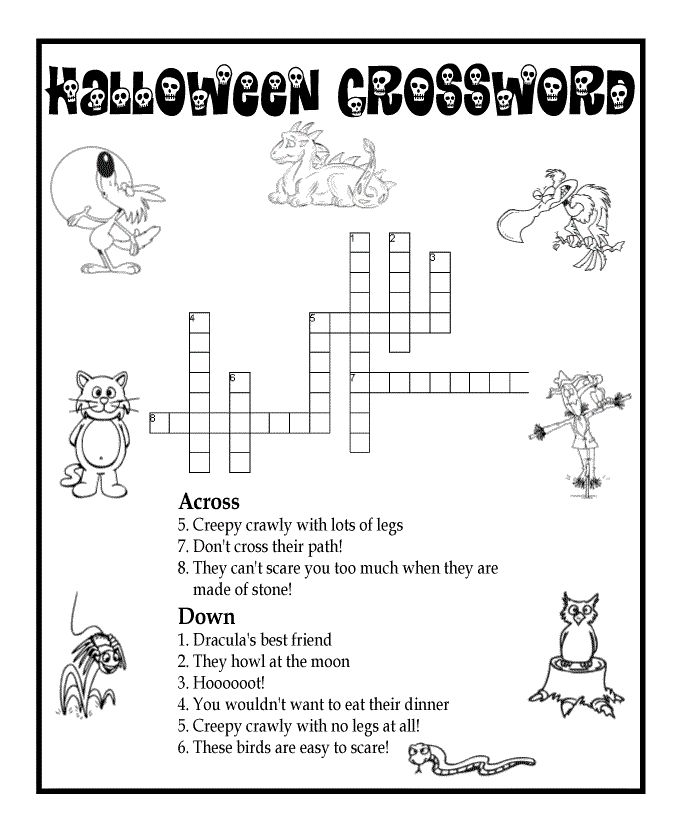halloween mazes and word puzzles halloween animals crossword puzzle classroom jr - Halloween Word Game