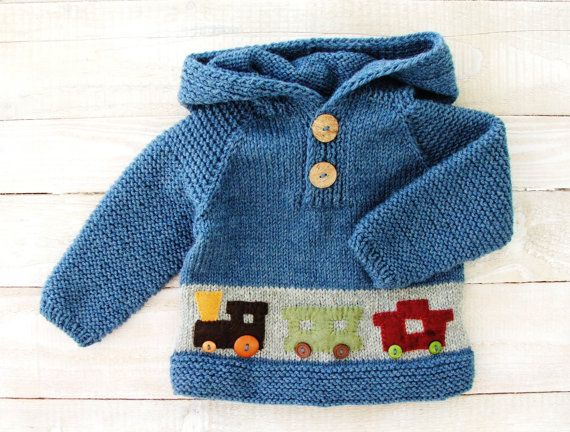 Baby Boys Clothes 100% Wool Hand Knitted Blue and Gray Hooded Sweater with Train Applique Denim Blue Hoodie Sweater Baby Boys 12 Month Size