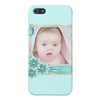 Aqua Teal Daisy Baby Girl Personalized Photogift iPhone SE/5/5s Cover