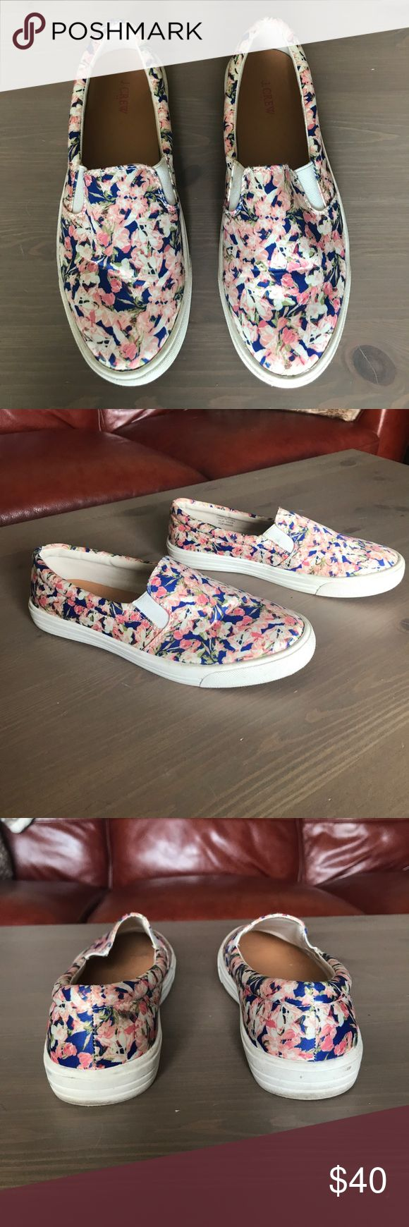 J Crew Silk Slip On Tennis Shoes Gently used - worn less than 5 times - silk - floral design - J Crew slip on sneakers J. Crew Shoes Sneakers