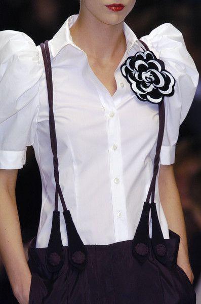 Puffy sleeve white shirt + suspenders + flower brooch + black pants