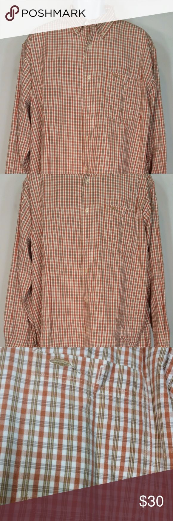 Bob Timberlake orange plaid long sleeve shirt XL men's orange, white and brown plaid, long sleeve button front shirt from Bob Timberlake. Size XL. Made from 100% cotton. excellent condition with no holes or stains. Measurements lying flat: Bust (pit to pit): 27 inches. Length: 33.5 inches. Bob Timberlake Shirts Casual Button Down Shirts