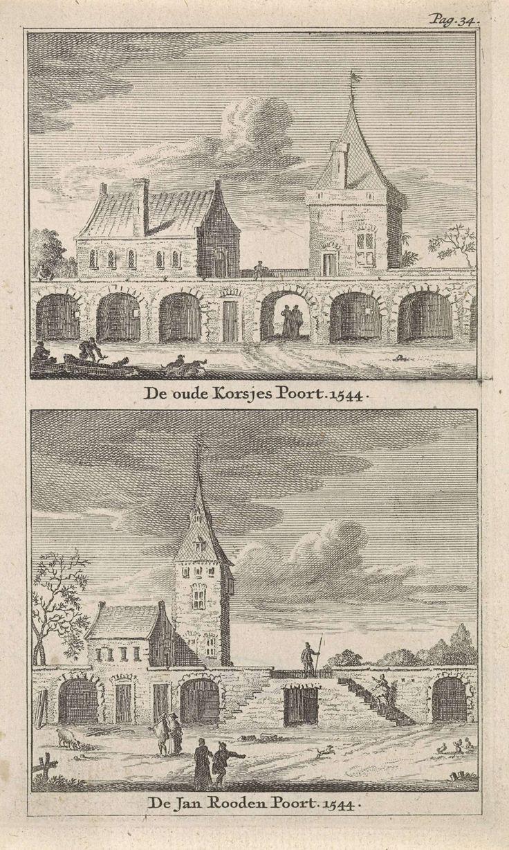Gezicht op Korsjespoort en de Jan Roodenpoortstoren van Amsterdam, Jan Goeree, 1723