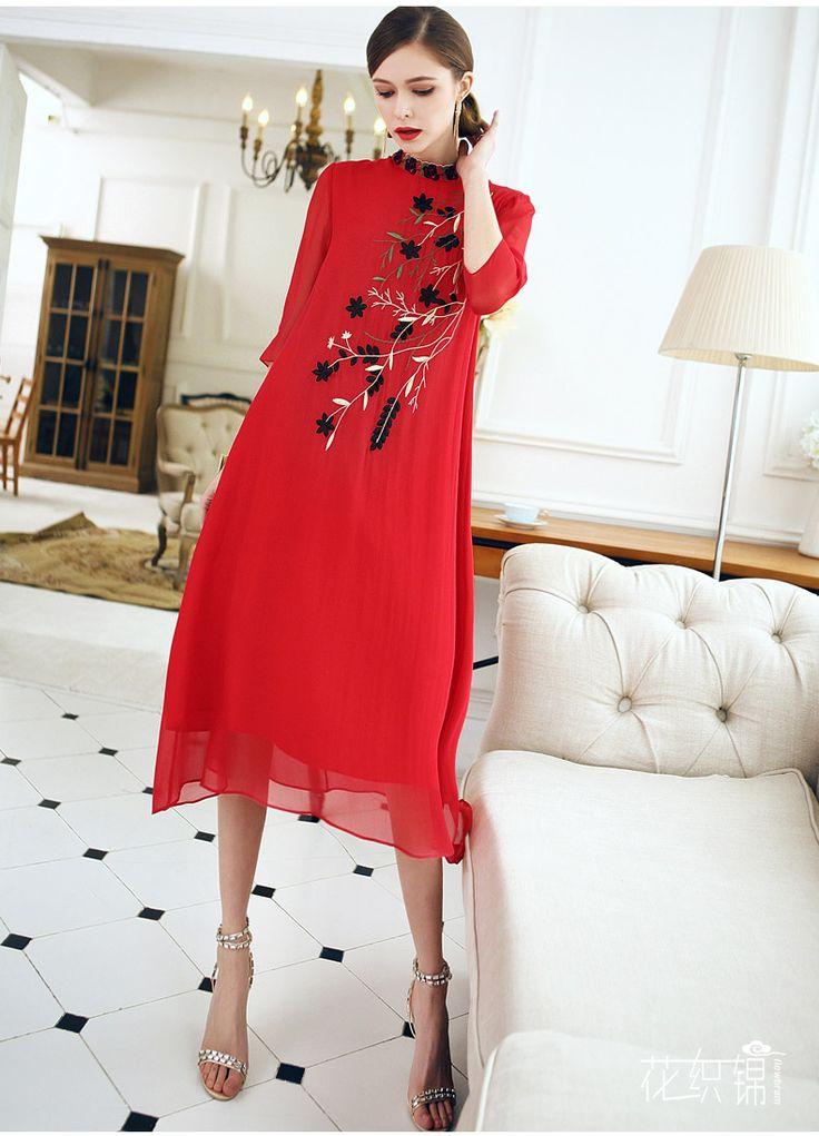 Гобелен с цветочным рисунком Весна / Лето платье новый национальный ветер дамы платье китайский стиль вышивка красный шелк шелковое платье-определиться. com дней кошка