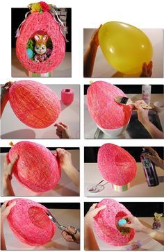 Fun to make cute Easter string eggs with balloon .#diy #crafts #Easter