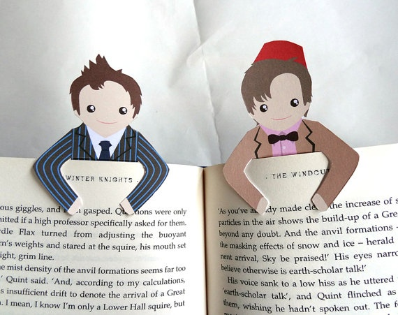Doctor Who Bookmarks. There are others too like Sherlock and Harry Potter.