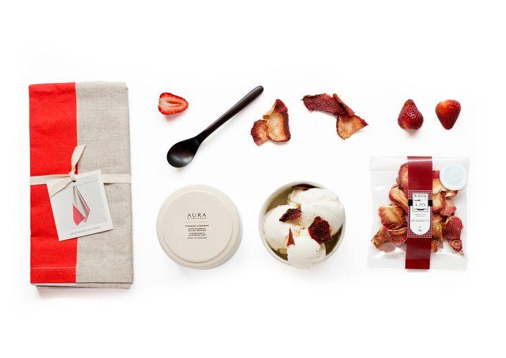 Sundae Best Red & White Tea Cloth - Robert Gordon Dish  - Whisk & Pin  Dried Strawberry 30G - Sands Made Handmade Rosewood Spoon.
