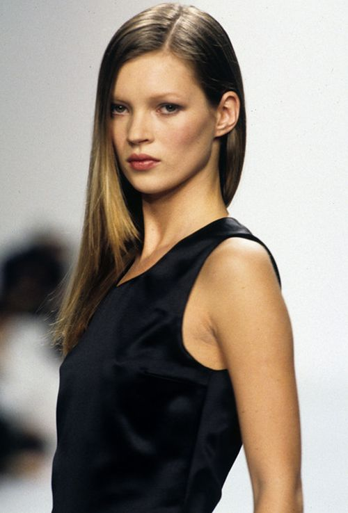 Kate Moss walking for Calvin Klein, 1994.