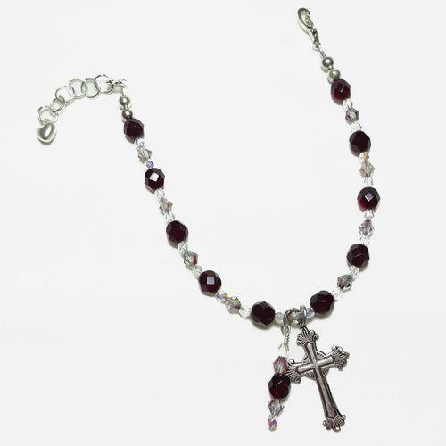 January Garnet Rosary Bracelet Divine Mercy Chaplet